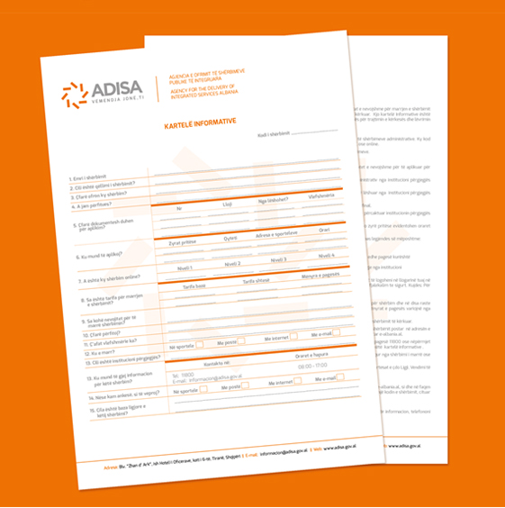 Standardet e sherbimeve PROCESI I STANDARDIZIMIT ADISA Kartela Informative