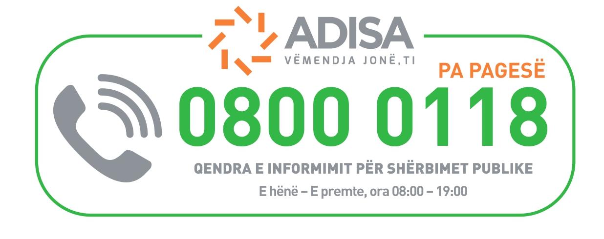 Qendra e Informimit për Shërbimet Publike ADISA – 0800 0118